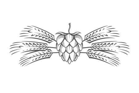 Ilustración de Black illustration of hop and barley ear for brewing. - Imagen libre de derechos