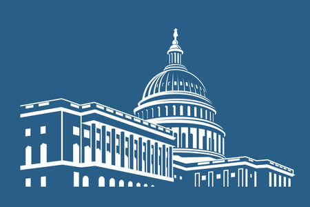Illustration pour United States Capitol building icon in Washington DC - image libre de droit