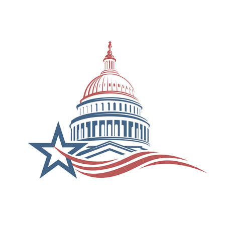Illustration pour Unated States Capitol building icon in Washington DC - image libre de droit