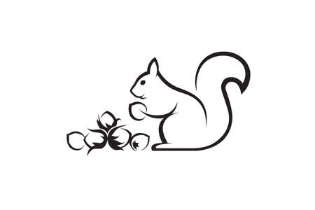 Illustration pour black icon of squirrel with nuts on white background - image libre de droit