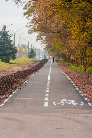 Photo for Bicycle lane along the road in Ukraine - Royalty Free Image