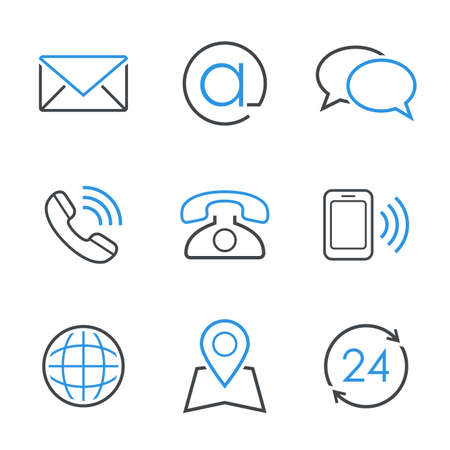 Illustration for Contacts simple vector icon set  envelope email chat telephone mobile phone map globe and business hours - Royalty Free Image