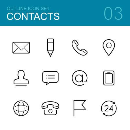 Illustration pour Contacts vector outline icon set - envelope, mail, pen, phone, address, man, chat and map - image libre de droit