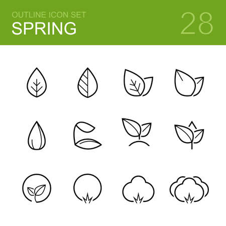 Illustration for Spring vector outline icon set - leaf, leaves, plant, seed, sprout, bush, tree and forest - Royalty Free Image