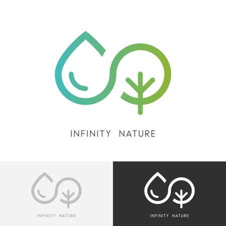 Illustration pour Infinity nature - a drop of water and tree or plant symbol. Ecology, environment and agriculture icon. - image libre de droit
