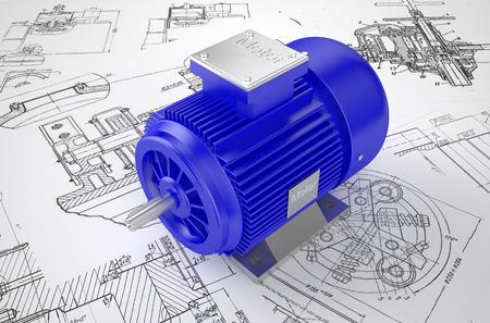 Photo pour Industrial blue electric motors on the drawing - image libre de droit