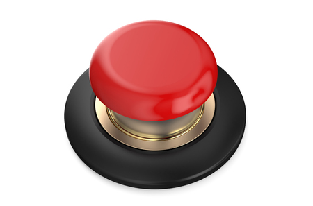 Photo pour Red push button isolated on white background - image libre de droit
