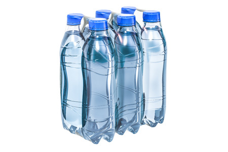 Foto per Water bottles wrapped in the shrink film, 3D rendering isolated on white background - Immagine Royalty Free