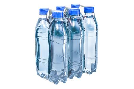 Foto de Water bottles wrapped in the shrink film, 3D rendering isolated on white background - Imagen libre de derechos
