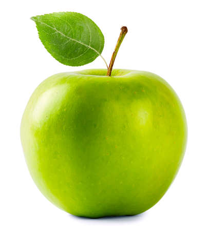 Photo for Green apple with leaf isolated on white background - Royalty Free Image
