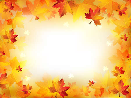 Ilustración de Elegant Autumn Frame Composed of Colorful Leaves on a Blurred Background - Imagen libre de derechos