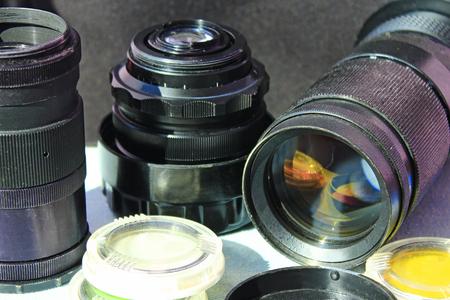 Photo pour Photographic lens photofilters and other photo accessories. Photoalbum. Retro photo objectives - image libre de droit