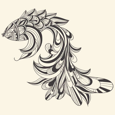 Photo for vector concept monochrome fish - Royalty Free Image