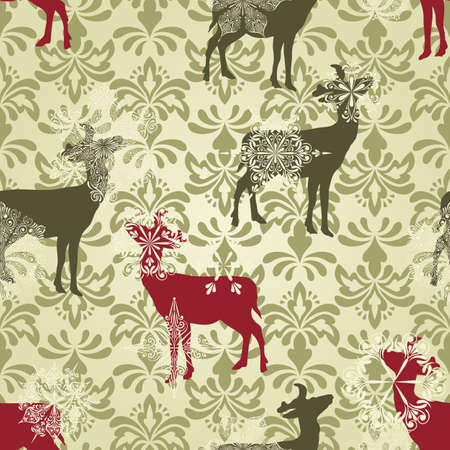 Illustration for vector Christmas  seamless vintage wallpaper pattern with falling snowflakes and deers - Royalty Free Image