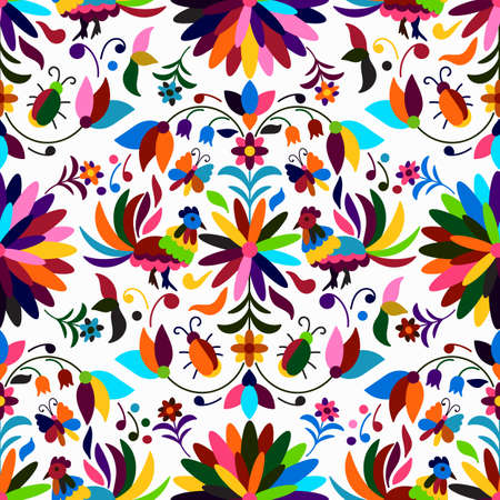 Illustration for Vector Seamless Mexican Otomi Style Bright Pattern - Royalty Free Image