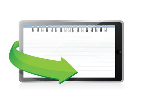 tablet with a notepad ring binder on screen illustration design