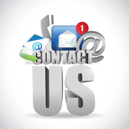 Illustration pour contact us 3d text concept illustration design over white - image libre de droit