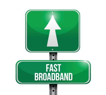 Illustration pour fast broadband road sign illustrations design over a white background - image libre de droit