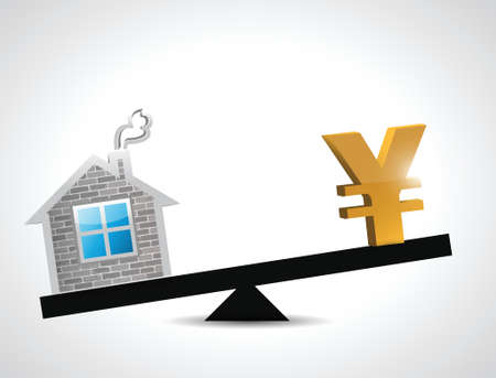 yen real estate balance industry illustration design over a white background