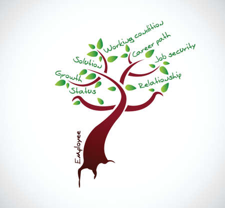Illustration for employee tree growth illustration design over a white background - Royalty Free Image