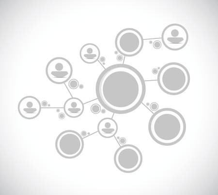 Illustration for grey people diagram network connection illustration design over a white background - Royalty Free Image