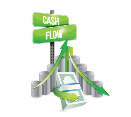 Ilustración de cash flow business graph illustration design over a white background - Imagen libre de derechos