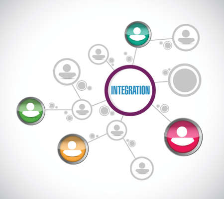 Ilustración de integration avatar network illustration design over a white background - Imagen libre de derechos