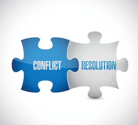 Ilustración de conflict resolution puzzle pieces illustration design over a white background - Imagen libre de derechos