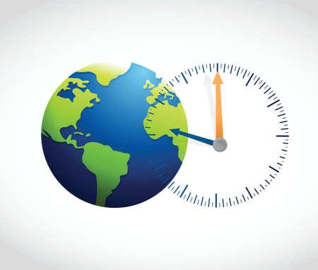 Illustration pour globe and watch illustration design over a white background - image libre de droit