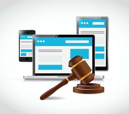 Illustration pour internet copyright protection law illustration design over a white background - image libre de droit
