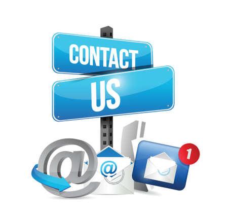 Illustration pour contact us communication icons illustration design over a white background - image libre de droit