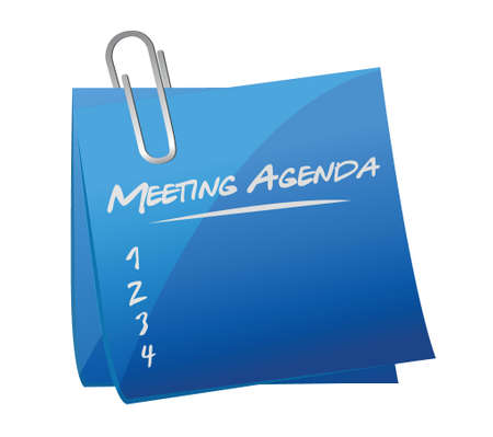 Ilustración de meeting agenda memo post illustration design over a white background - Imagen libre de derechos