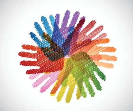 Illustration pour diversity hands scribble illustration design over a white background - image libre de droit
