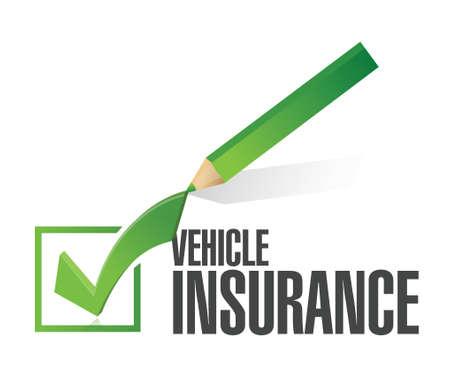 Illustration pour vehicle insurance pencil check mark illustration design over a white background - image libre de droit