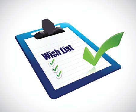 Illustration pour wish list clip board sign concept illustration design over white - image libre de droit
