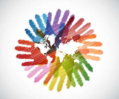 Illustration pour world map over diversity hands circle illustration design - image libre de droit