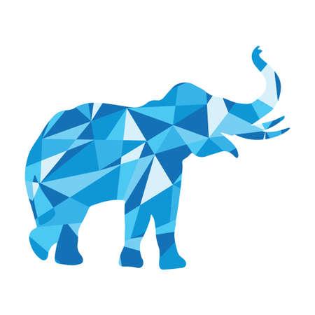 blue shapes abstract elephant. Animal isolated illustration