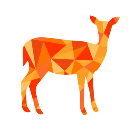 orange shapes abstract deer. Animal isolated illustration