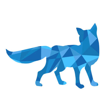 blue shapes abstract fox. Animal isolated illustration