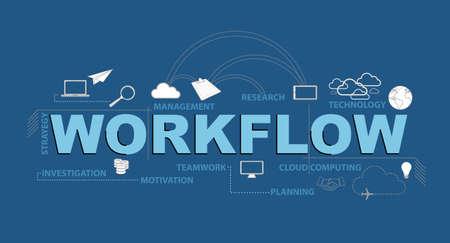 Illustration pour workflow text infographic design graphic concept over a blue background - image libre de droit