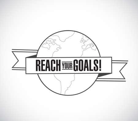 Ilustración de reach your goals line globe ribbon message concept isolated over a white background - Imagen libre de derechos