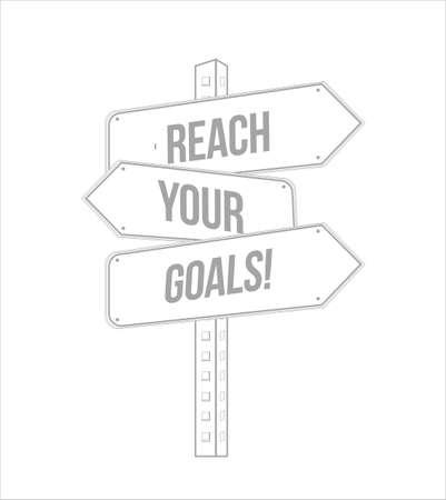 Ilustración de reach your goals multiple destination line street sign isolated over a white background - Imagen libre de derechos