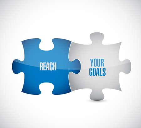 Ilustración de reach your goals target puzzle pieces message isolated over a white background - Imagen libre de derechos