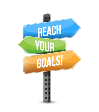 Ilustración de reach your goals colorful multiple destination line street sign isolated over a white background - Imagen libre de derechos