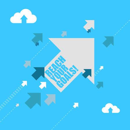 Ilustración de reach your goals multiple arrows following a leader concept, isolated over a blue background - Imagen libre de derechos