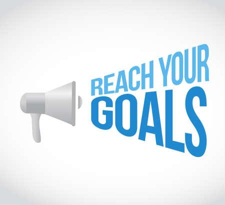 Ilustración de reach your goals loudspeaker message concept isolated over a white background - Imagen libre de derechos