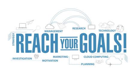 Ilustración de reach your goals diagram plan concept isolated over a white background - Imagen libre de derechos