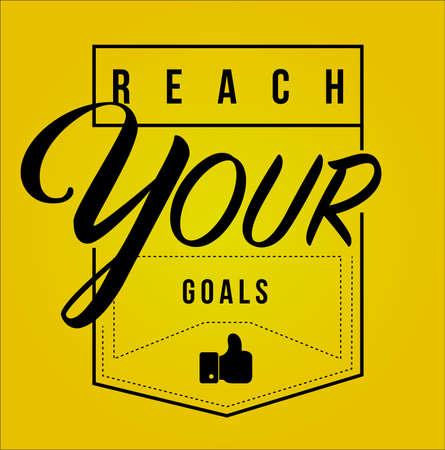 Ilustración de reach your goals Modern stamp message design isolated over a yellow background - Imagen libre de derechos