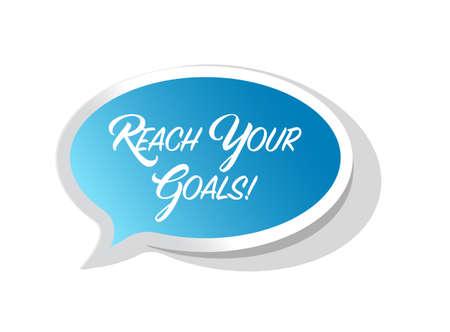 Ilustración de reach your goals bright ribbon message isolated over a white background - Imagen libre de derechos