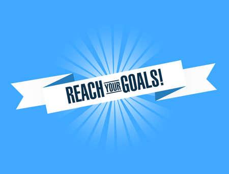 Ilustración de Reach your goals bright ribbon message  isolated over a blue background - Imagen libre de derechos